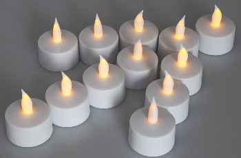 LED Teelichter, 12er Set, mit Windschutz