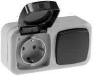 Feuchtraum Kombi-Schalter/Steckdose,IP44
