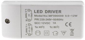 """LED-Trafo """"CT-12E-V2"""", 0,5-12W eckig"""