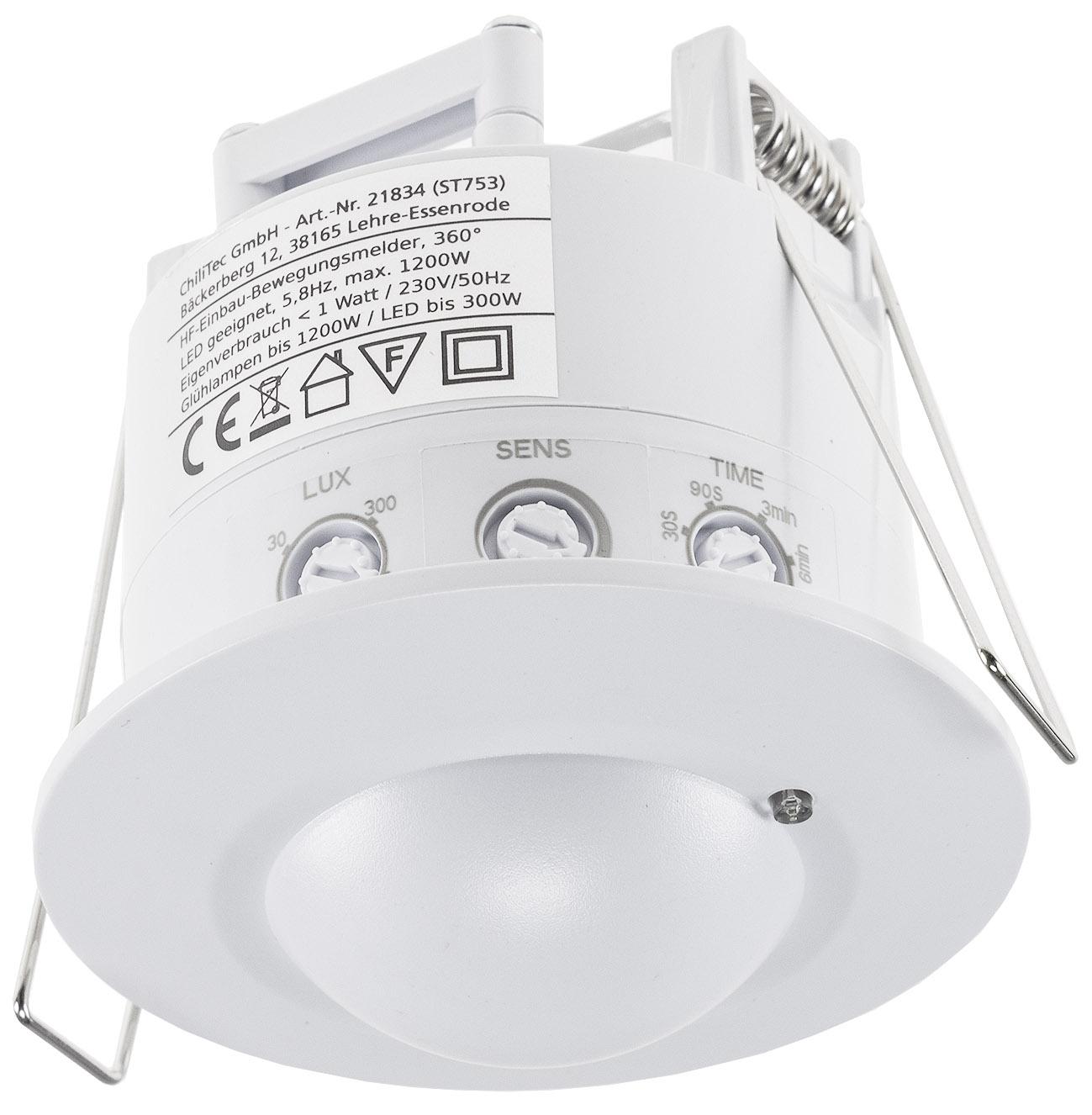 Decken Einbau Bewegungsmelder 360° 230V 10-1200W weiss Deckenbewegungsmelder