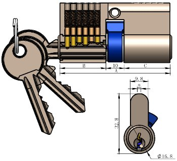 Schließzylinder 70mm (40+30mm)