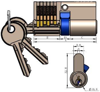 Schließzylinder 80mm (50+30mm)