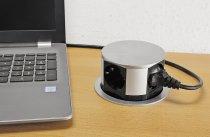 Schreibtisch-Einbausteckdose 4x