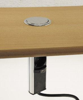 Schreibtisch-Einbausteckdose 2x + 2xUSB