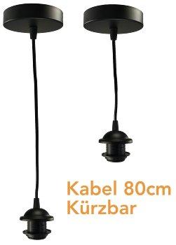 Hängeleuchte mit E27 Fassung, 80cm Kabel