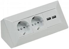 2-fach Steckdosenblock + 2x USB, weiß