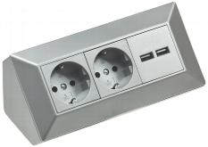 2-fach Steckdosenblock + 2x USB, silber