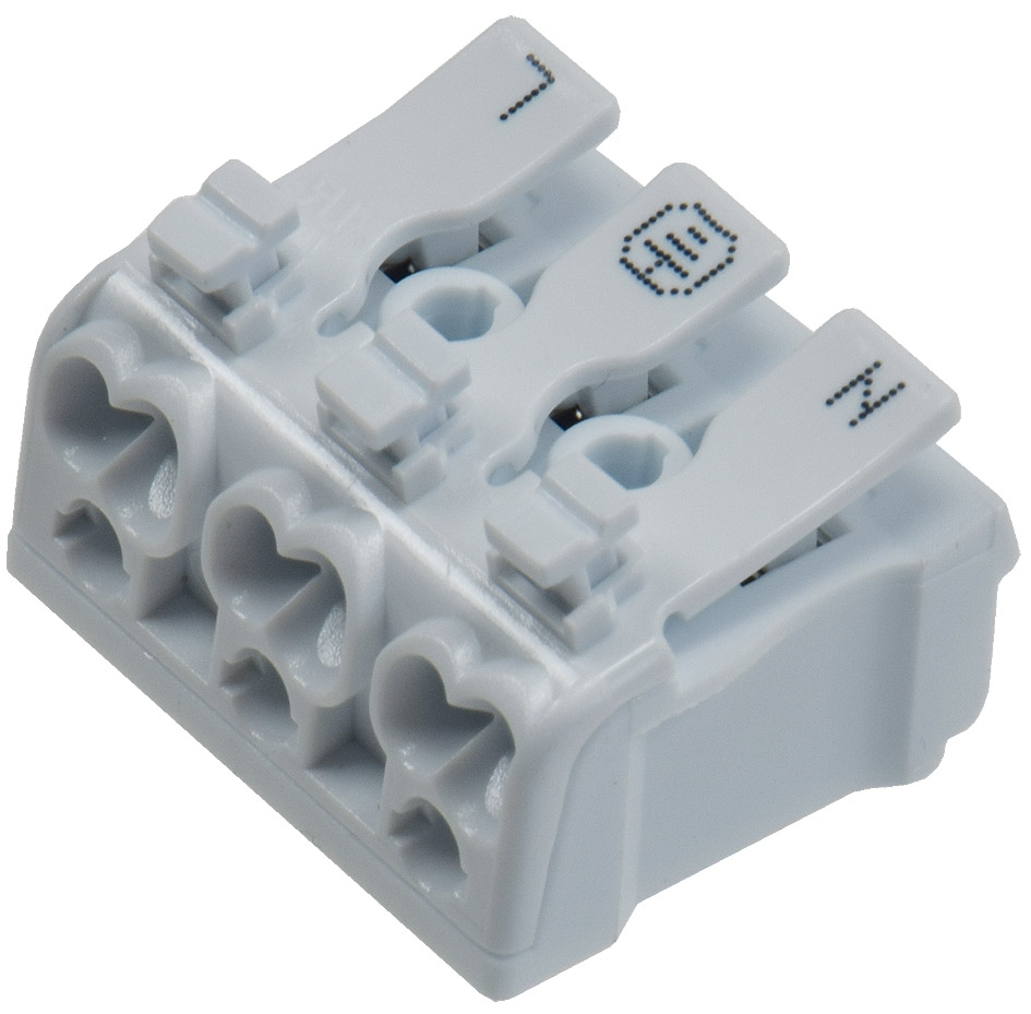 Bekannt Lüsterklemme, 3-polig mit Hebel 0,75-2,5mm², max. 16A » chilitec.de PY45