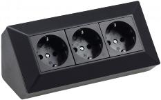 3-fach Steckdosenblock, schwarz