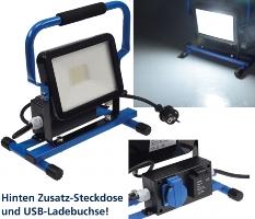 LED Baustrahler 30W mit Steckdose+USB