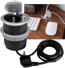 Schreibtisch-Einbausteckdose + USB