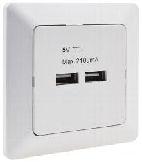 MILOS 2-fach USB-Ladedose, weiß matt