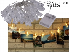 LED Lichterkette mit 20 Foto-Clips