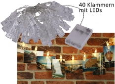 LED Lichterkette mit 40 Foto-Clips