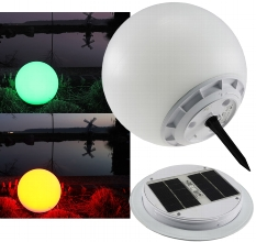 LED Solar Kugelleuchte RGB 30cm Ø